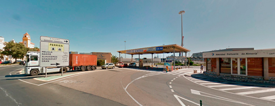 Acceso puerto Almería - rotonda Pescadería - puerto comercial
