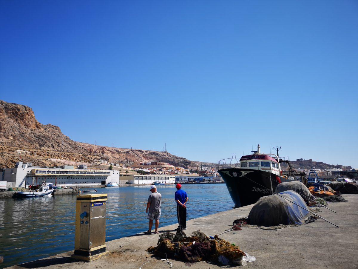 Puerto Pesquero de Almería, con la Lonja al fondo
